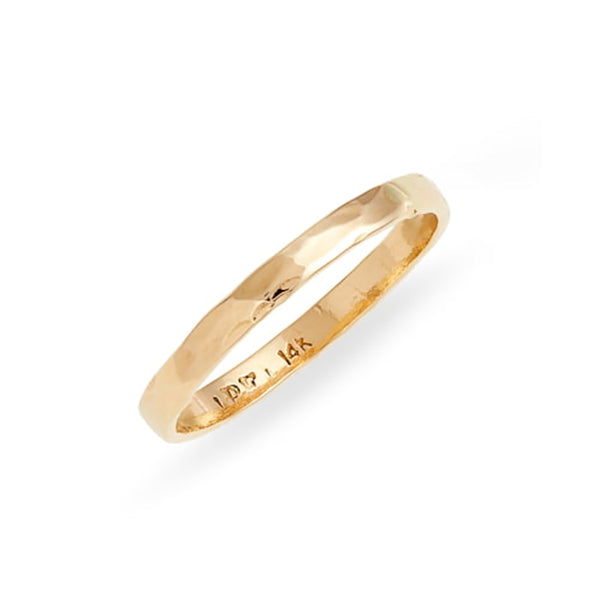 2mm Hammered Gold Ring