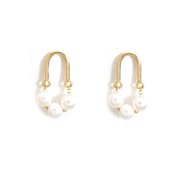 Gold Arch Pearl Trio Stud Earrings