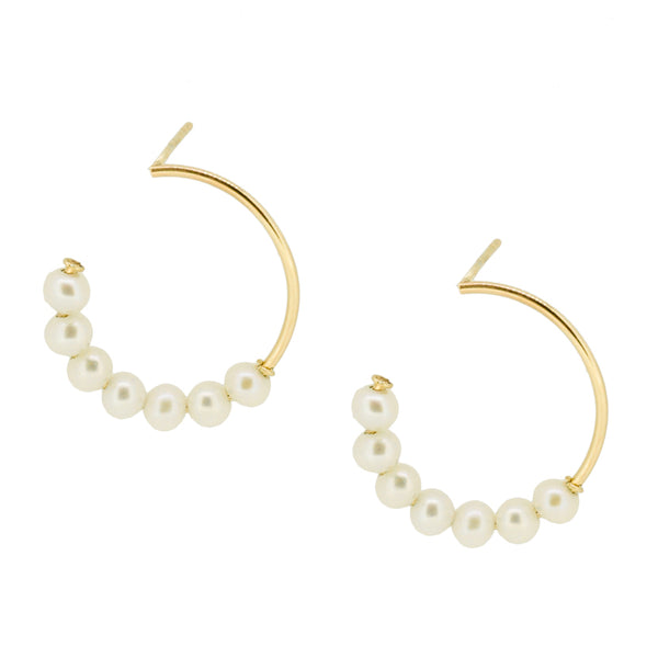 Baby Pearl Open Hoop Stud Earrings