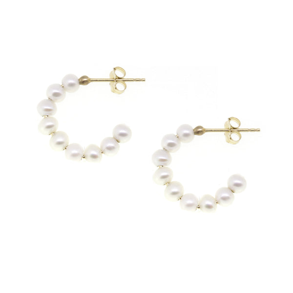 Small Baby Pearl Hoop Earrings