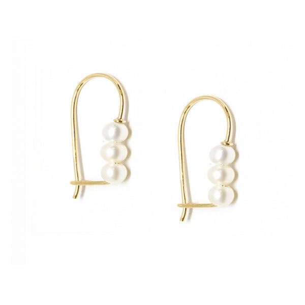 Triple Baby Pearl Hook Earrings