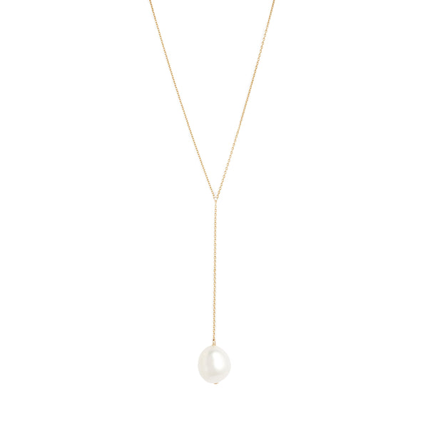 Gold Lariat Necklace with Baroque Pearl
