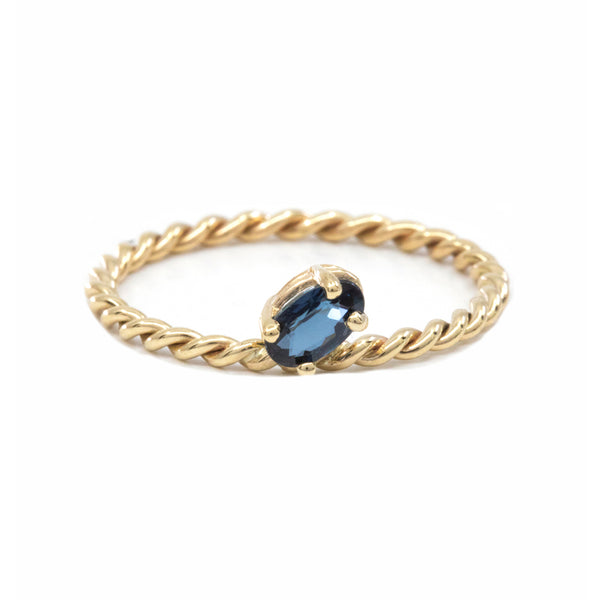 Slanted Blue Sapphire Twisted Ring
