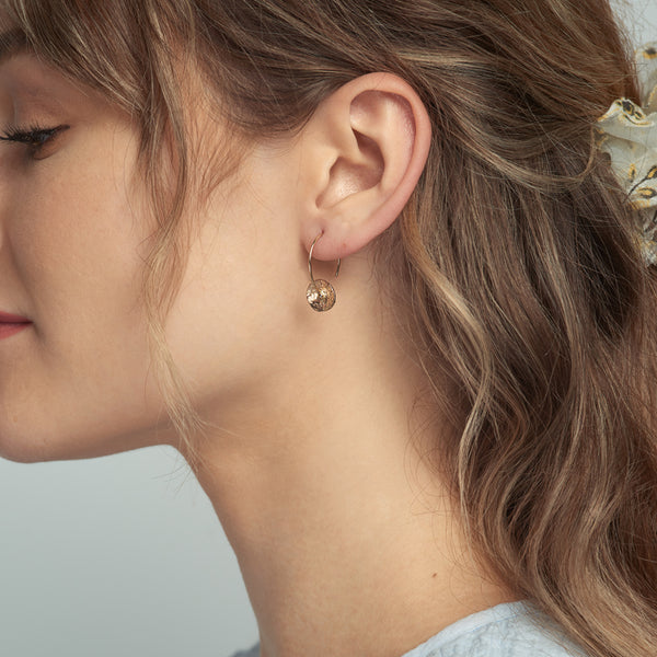 Gold Petal Circle Earrings
