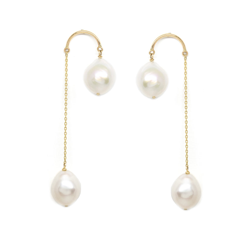 Crescent Hi-Lo Baroque Pearl Earrings