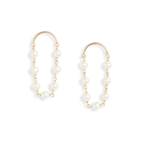 Gold Crescent Short Pearl Drop Earrings
