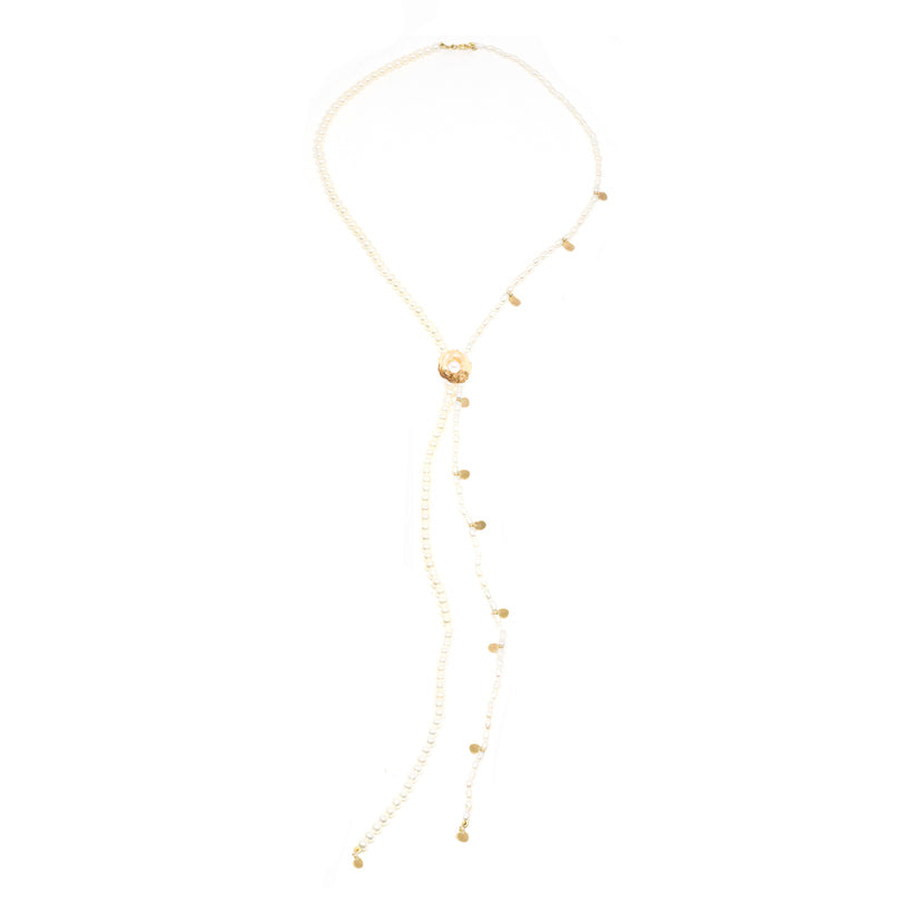 Double Pearl Gold Confetti Bolo Necklace