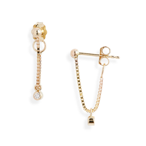 Diamond Box Chain Wrap Around Earrings