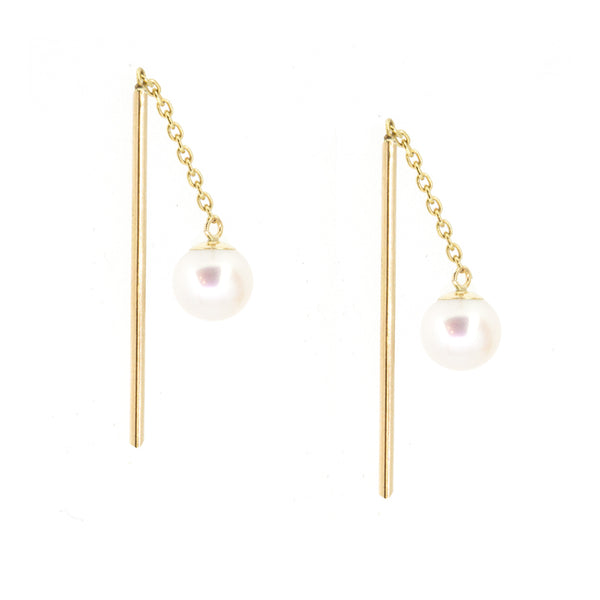 Petite Pearl Threader Earrings