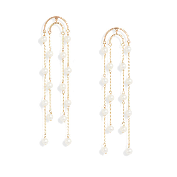 Double Crescent Pearl Drop Earrings