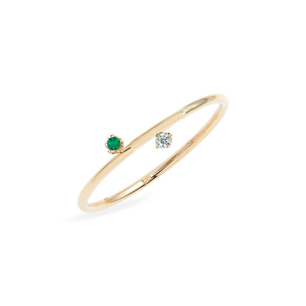 Duo Diamond Emerald Ring