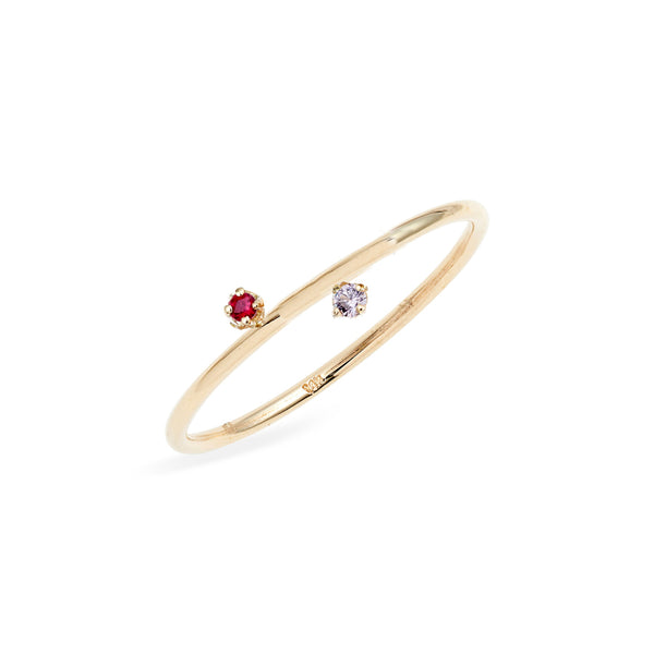 Duo Ruby Pink Sapphire Ring