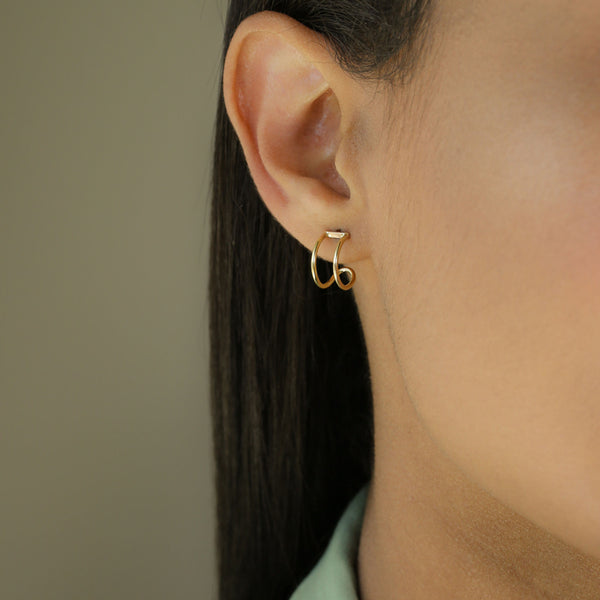 Gold Double Huggie Earrings