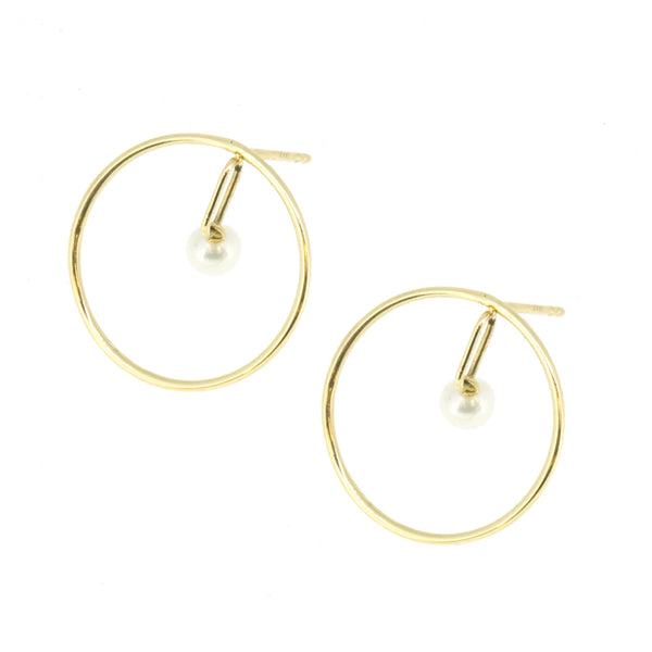 Gold Orbit Pearl Earrings