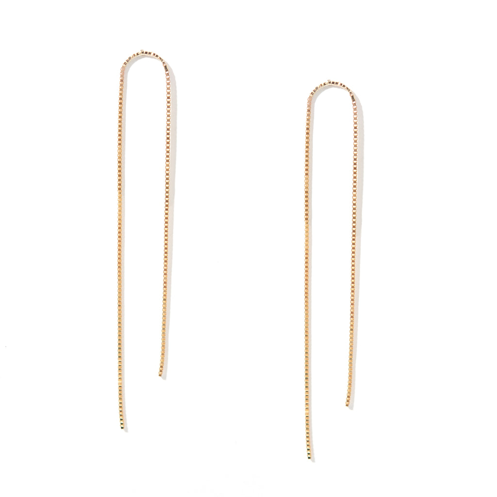 Gold Arch Box Chain Earrings