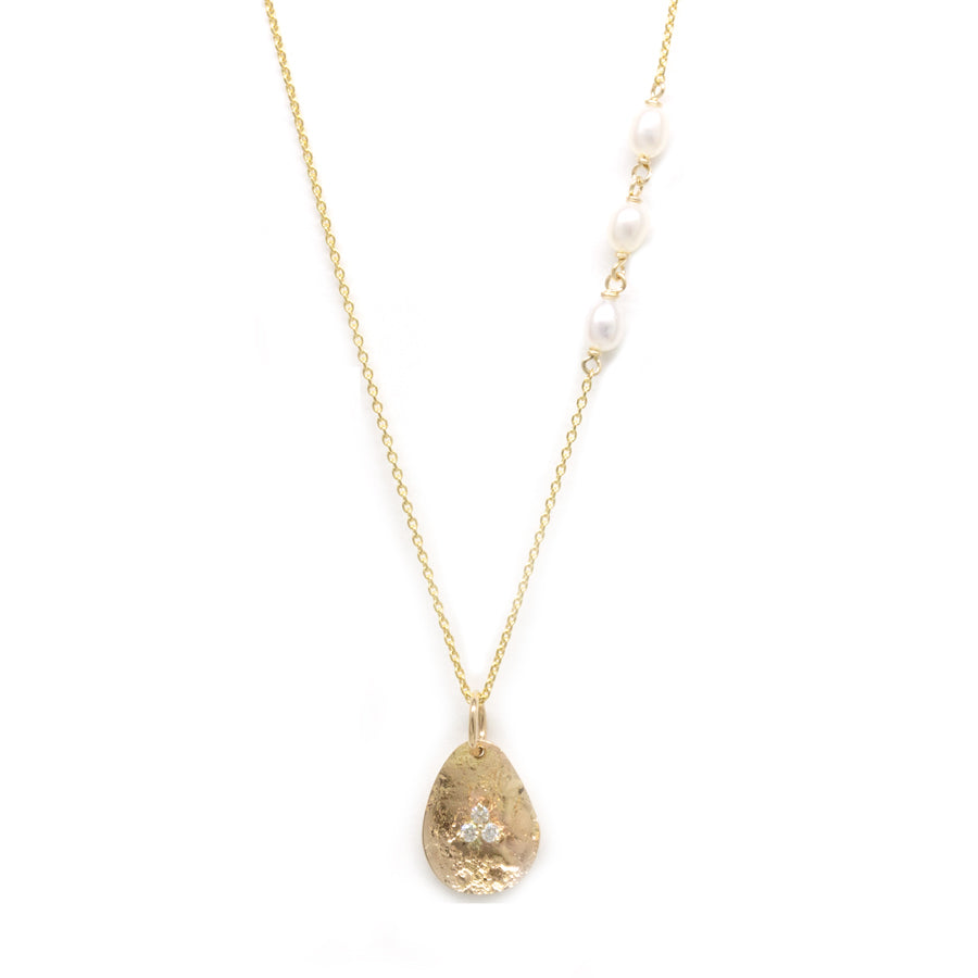 Gold Petal Diamond Pendant Necklace