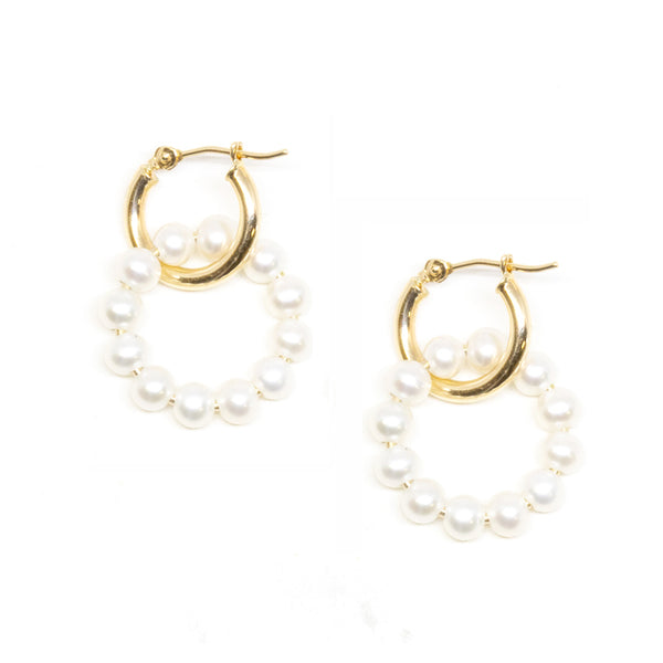 Mini Gold Hoop Pearl Circle Dangle Earrings