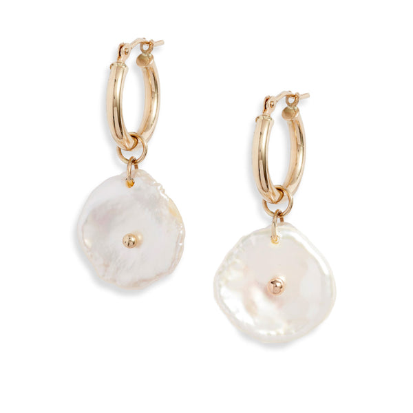 Mini Gold Hoop Petal Pearl Dangle Earrings