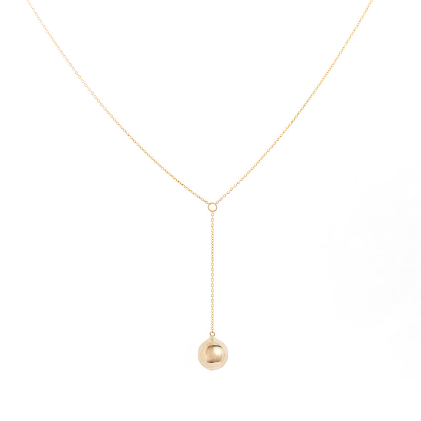Gold Lariat Necklace with Gold Dome