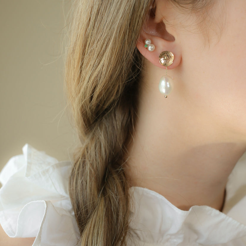 Gold Petal Earrings with Baroque Pearl Jackets