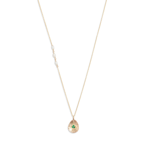 Gold Petal Emerald Pendant Necklace