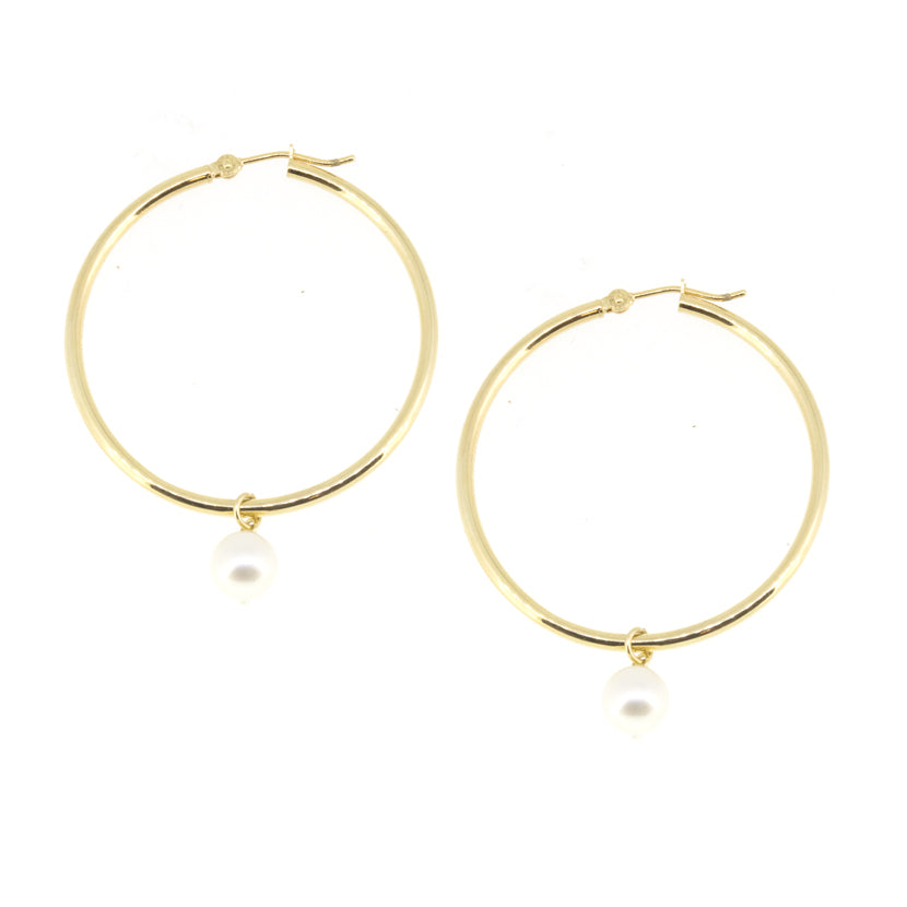 Large Gold Hoop Pearl Earrings