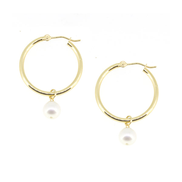 Medium Gold Hoop Pearl Earrings