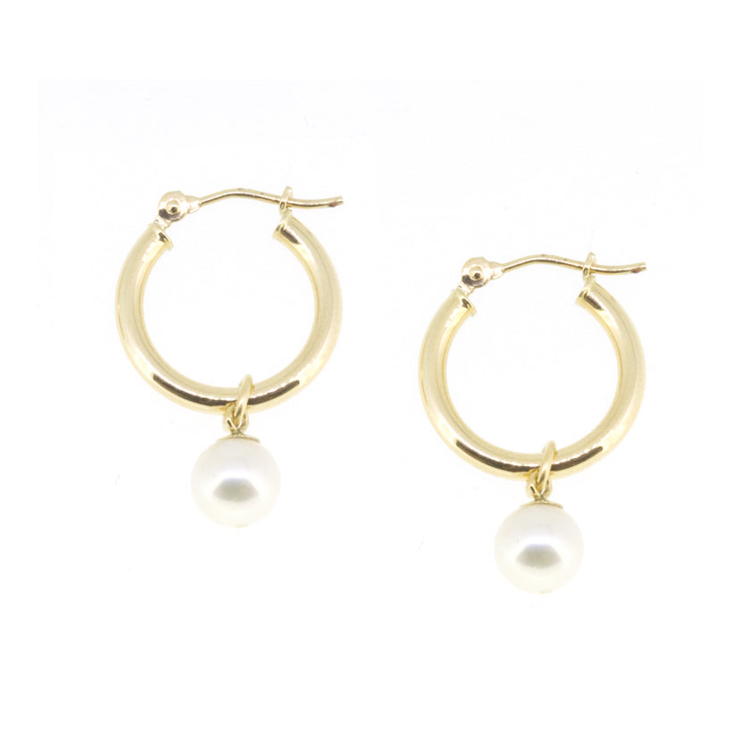 Small Gold Hoop Pearl Earrings