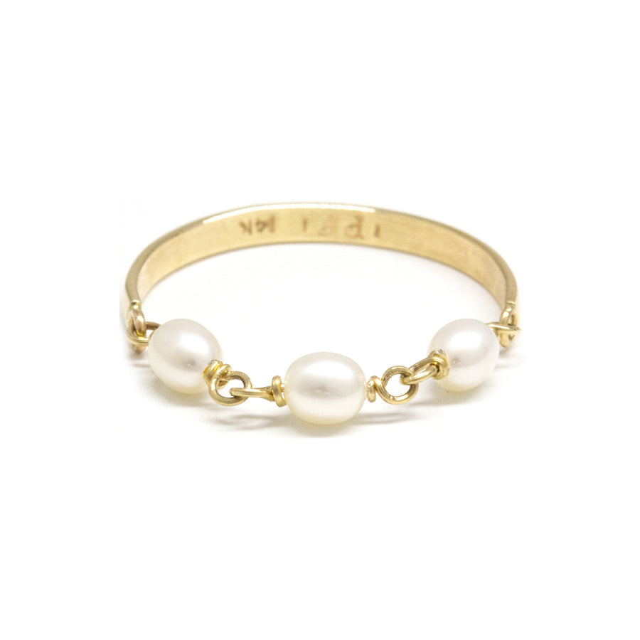 Contrast Keshi Pearl Gold Band Ring