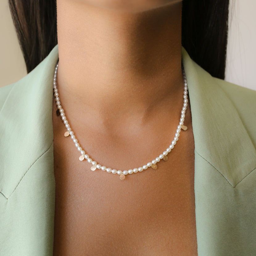Keshi Pearl Gold Confetti Necklace