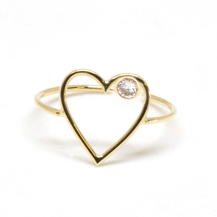 Large Heart Diamond Ring