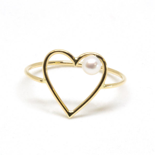 Large Heart Pearl Ring