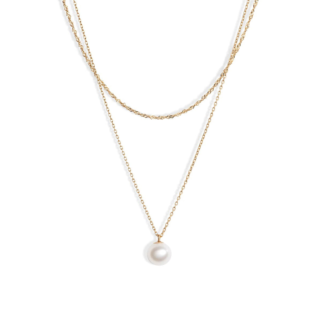 Layer Chain Pearl Necklace