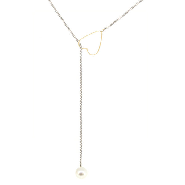 Long 14K Heart Lariat with Sterling Silver