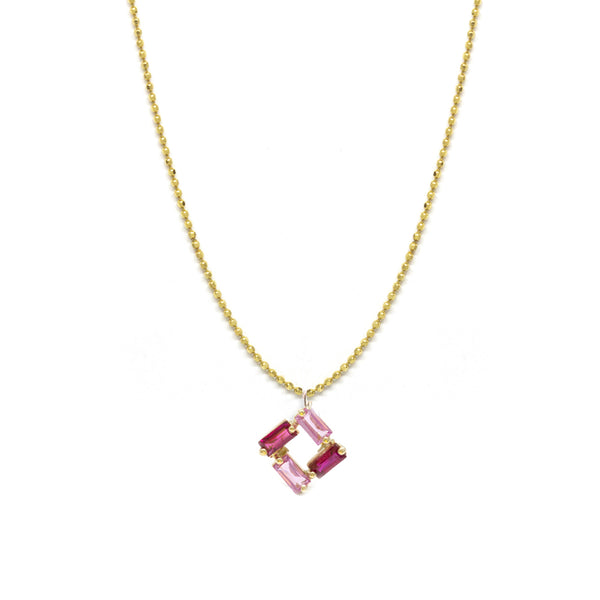 Ruby Pink Sapphire Square Baguette Necklace