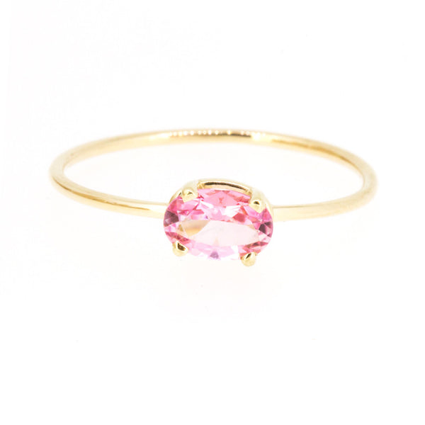 Oval Baby Pink Topaz Ring