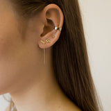 Tiny Gold Bar Threader Earrings