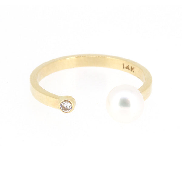 Pearl Diamond Open Ring