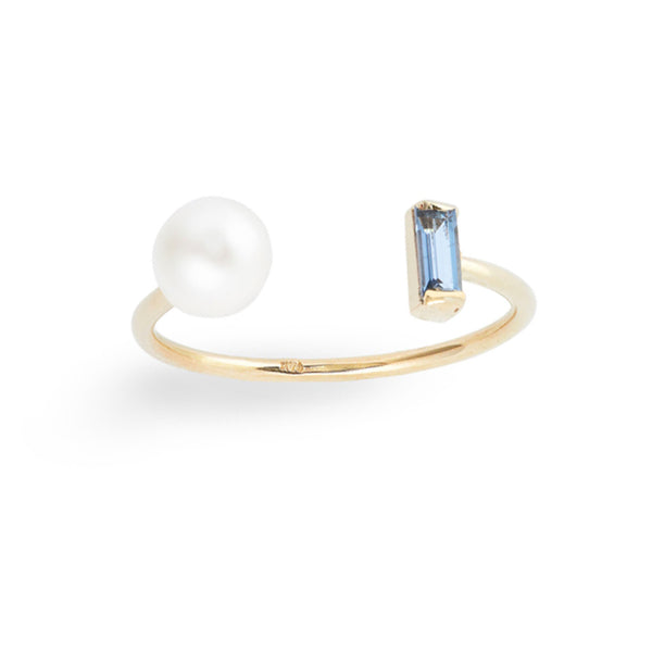 Baguette Aquamarine Pearl Open Ring