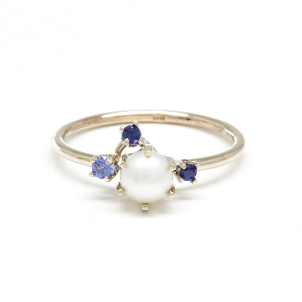 Pearl Blue Sapphire Cluster Ring