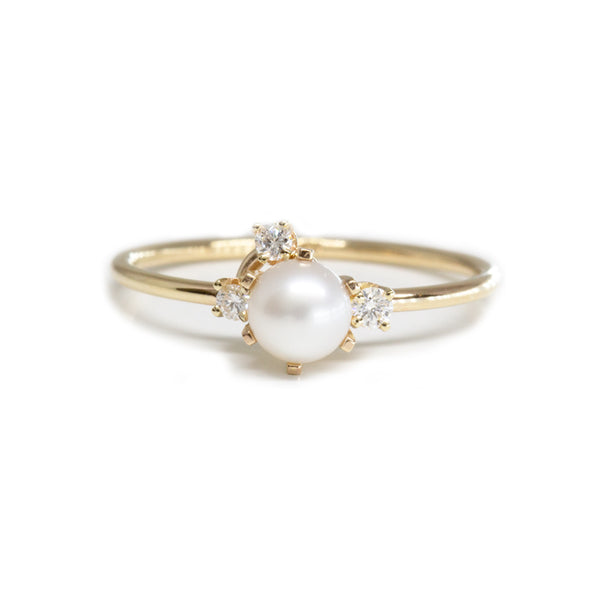 Pearl Diamond Cluster Ring