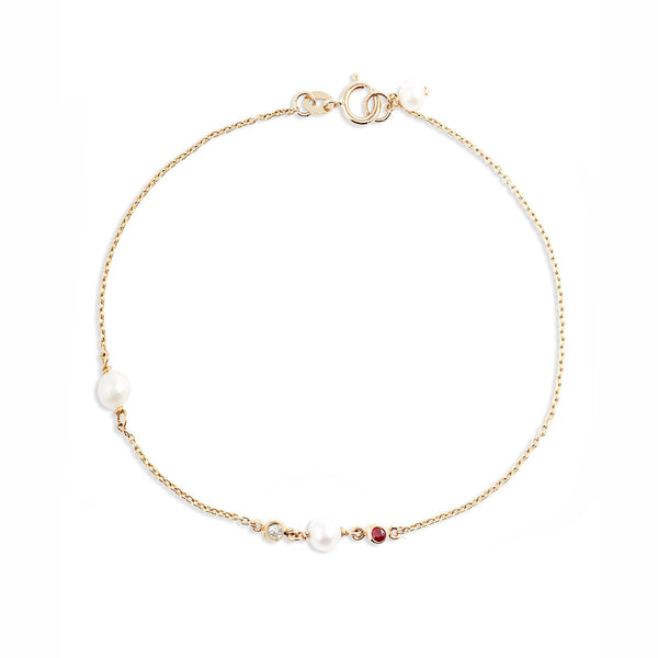 Ruby Pearl Diamond Bracelet