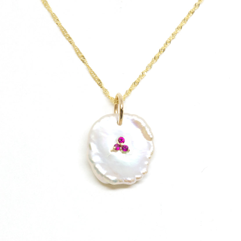 Petal Pearl Ruby Pendant Necklace
