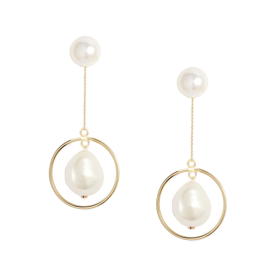 Baroque Pearl Circle Jacket Earrings