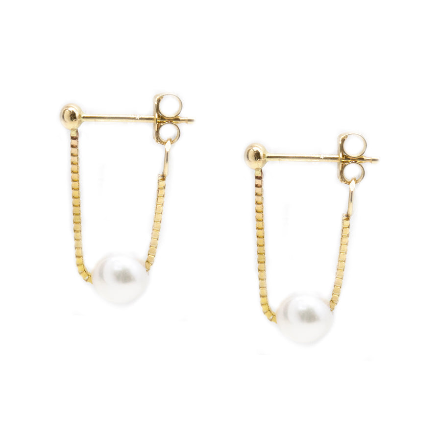 Pearl Box Chain Wrap Around Earrings