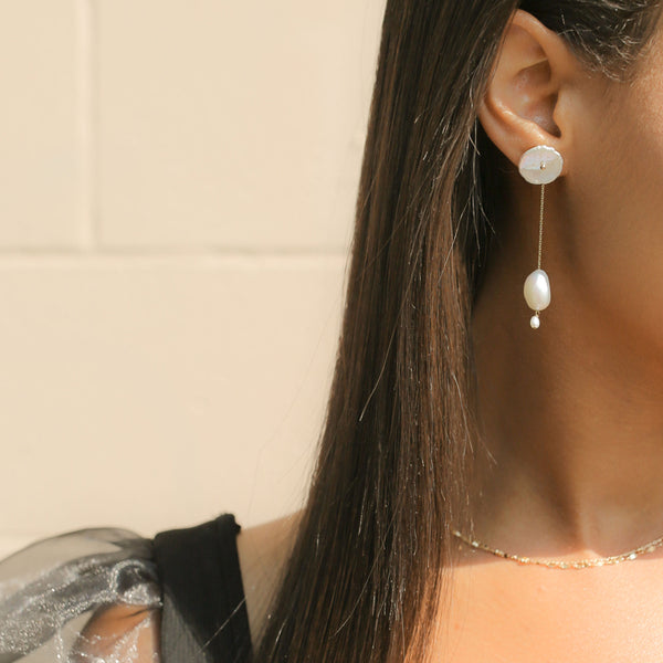 Petal Pearl Earrings with Long Baroque Pearl Jackets