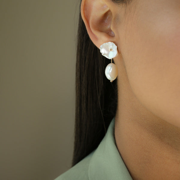 Petal Pearl Earrings with Short Baroque Pearl Jackets