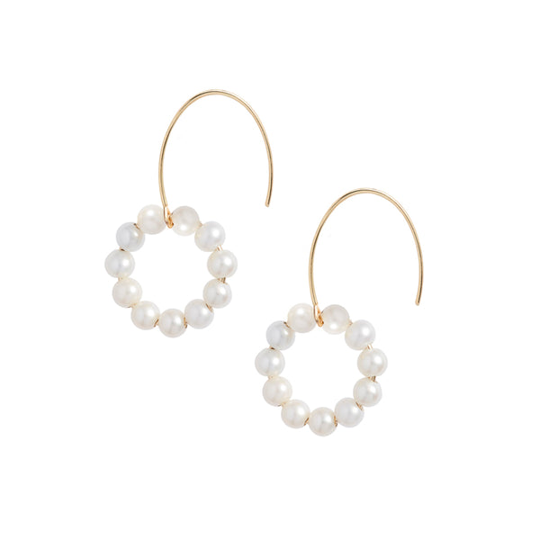 Pearl Circle Hook Earrings
