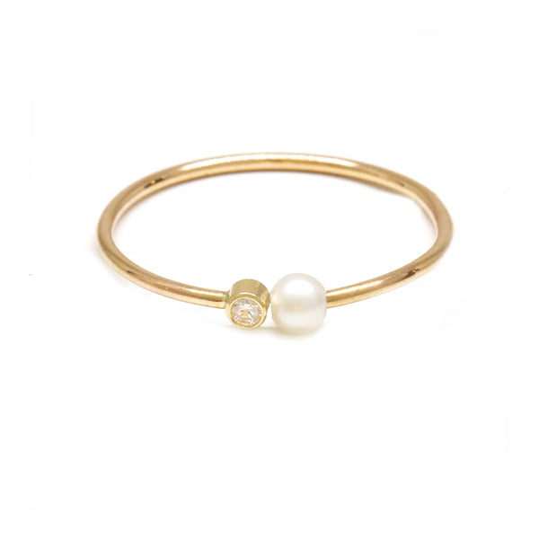 Baby Pearl Diamond Ring