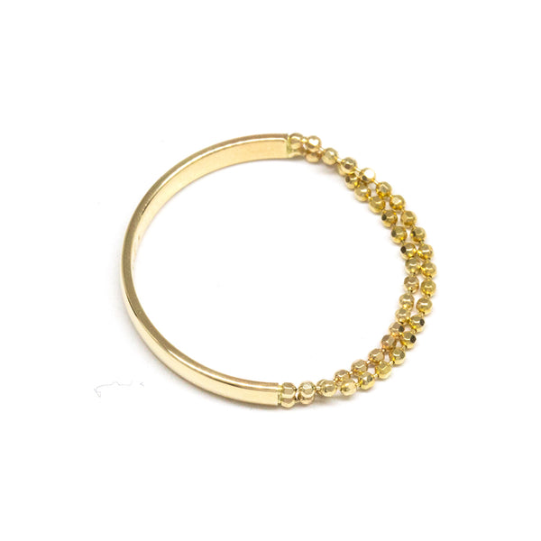 Contrast Bead Chain Gold Band Ring
